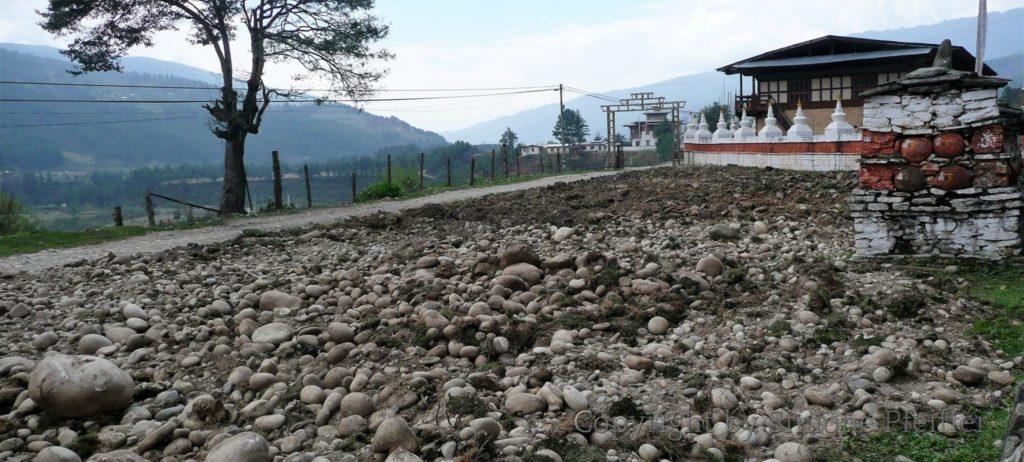 Feld in Bumthang. Man kann nur erahnen wie hart die Arbeit der Bergbauern ist.