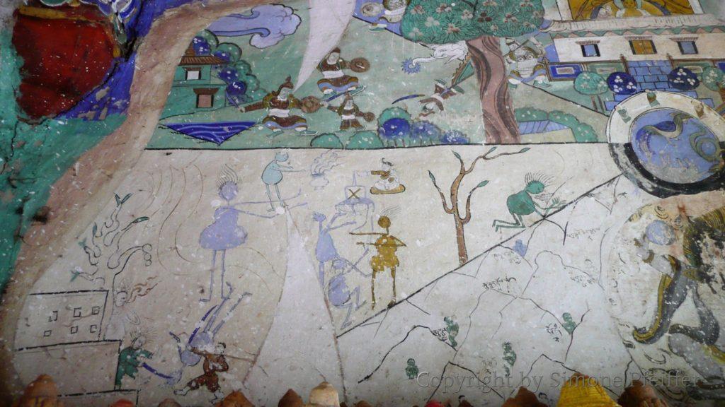 Außergewöhnliche Darstellung des Lebensrades im kleinen Tempel neben dem Chorten.