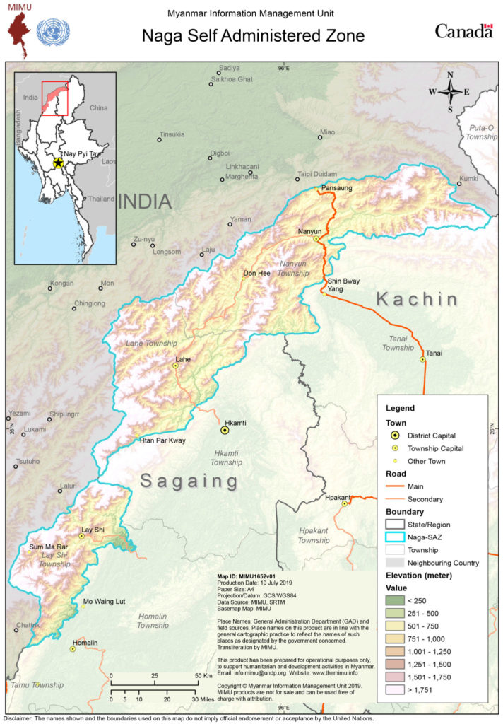 Map of Naga Self-Administered Zone Myanmar